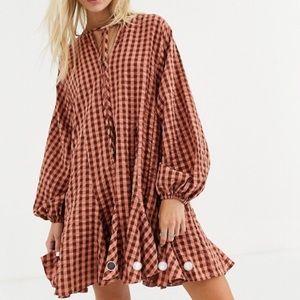ASOS Long Sleeve Check Mini Dress